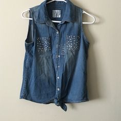 Jean button up Jean button up. Never worn. Fits like women's medium Justice Tops Tank Tops
