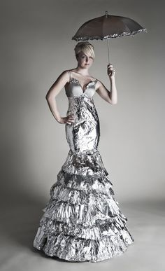 Tin Foil Dress. I made a dress out of tin foil once, but it didn't turn out very good.