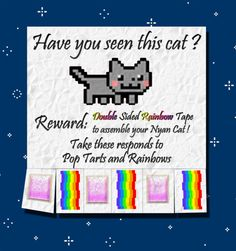 Have you seen this cat ?    Reward: Double Sided Rainbow Tape to assemble your Nyan Cat !    Take these responds to Pop Tarts and Rainbows