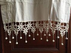 Pr antique French handmade lace curtain blind Edwardian Belle Epoque vintage fabric home textile cottage decor Provence romantic shabby chic