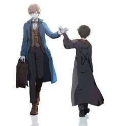 The two guys on this drawing are Newt Scamander and Harry Potter, both the main characters of my favorite fandoms ever! (Harry Potter/ Fantastic Beasts and Where to Find Them) Harry Potter Anime, Harry Potter Fan Art, Memes Do Harry Potter, Mundo Harry Potter, Harry Potter Universal, Harry Potter Fandom, Harry Potter World, Hogwarts, Harry Potter Rowling