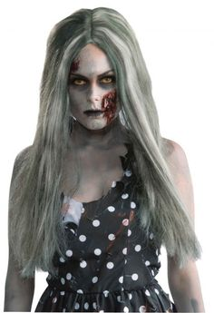 Mens Zombie Wig Halloween Grey Undead Fancy Dress Costume Outfit Accessory