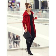 Red Sweater Women Autumn Winter Clothing New Style Fashion Loose Casual Knitting Sweater One Size @GP0072r