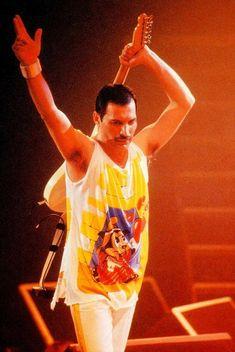 Freddie Mercury during Magic Tour in Brussels, Belgium / Forest National June 17, 1986