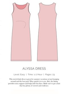 Alyssa Dress - FREE pattern and tutorial, sizes 0 - 18.  This stretch knit dress is great for summer vacations or just lounging around. The best part? How quick it is to sew (no serger required). Also, the lining provides extra support and helps hide bra lines. Make sure to get a knit that has plenty of stretch and resilience.