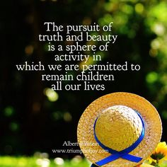 The pursuit of truth and beauty is a sphere of activity in which we are permitted to remain children all our lives - #AlbertEinstein