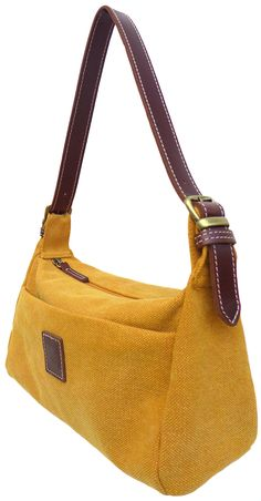 Compact yellow purse Yellow Purses, Summer Handbags, How To Make Handbags, Small Shoulder Bag, Compact, Bright, Leather, Fashion, Bags