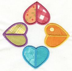 Patchwork Hearts 3 Applique - 2 Sizes! | Valentine's Day | Machine Embroidery Designs | SWAKembroidery.com Designs by Juju