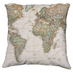 Map of the World By National Geographic (pillow)