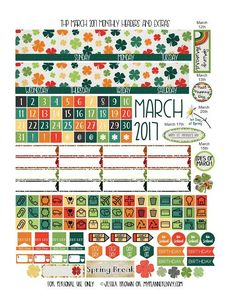 Free Printable March 2017 Monthly Headers & Extras for the THP from myplannerenvy.com #scrapbookprintables