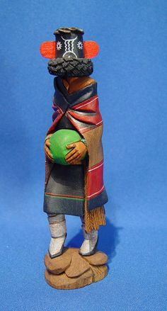 Hopi Kachina: Zuni Maiden Katsina (Hoho Mana) by Watson Namoki, Hand Carved and Painted Cottonwood Root