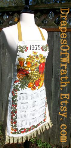 Upcycled Linen Calender Dishcloth Apron  That 70s by DrapesofWrath, $35.00