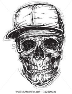 Sketchy Skull with Bandanna and cap