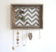 Distressed Jewelry Holder- Organizer Barnwood Grey Chevron Frame Display Silver Hooks-