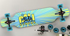 The UCLA inspired CALI Strong Original Bruin Longboard Drop Thru Complete is the ultimate land carver great for long-distance riding, commuting, freeride and downhill. She has a drop through truck mount that lowers the center of gravity for a more…