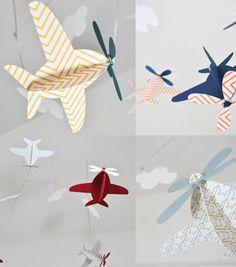 Decor quartinho de bebê aviões mobile papel