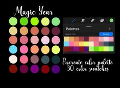 Magic Year / procreate palette / instant download Word Doc, Color Swatches, Palette, Clip Art, Magic, Words, Brushes, Etsy, Palette Table