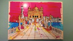 Golden Temple (Harmandir Sahib) in Amritsar, India. One of the holiest sites in Sikhism. Painting by Inkquisitive Illustration.