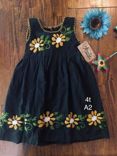 Girls Mexican Dresses Hand embroidered Size true to size Measurements wide long Aprox. Baby Girl Dresses Diy, Baby Girl Frocks, Frocks For Girls, Little Girl Dresses, Girl Outfits, Girl Tutu, Fashion Outfits, Baby Frocks Designs, Kids Frocks Design