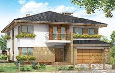 Projekt Gabriela to bardzo prestiżowy dom, o jednopiętrowej bryle przekryty czterospadowym dachem. Dom przeznaczony jest dla 4-6cio osobowej rodziny. Architektura domu nawiązuje do stylu modernistycznego, we współczesnym ujęciu. Elementy jak narożne okna, balkony z zaokrąglonymi balustradami, łukowy wykusz jadalni, podział elewacji na poziome pasy tworzą ciekawą stylistycznie architekturę zewnętrzną budynku.