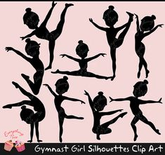 Gymnast Girl Silhouettes Clip Art Set by on Etsy Silhouette Clip Art, Girl Silhouette, Silhouette Projects, Gymnastics Party, Gymnastics Girls, Cricut Explore Projects, Art Projects, Clipart, Butterfly Drawing