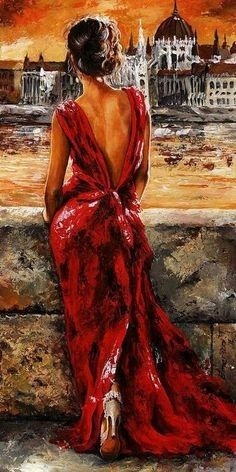 Lady In Red 34 - I Love Budapest by Emerico Imre Toth - Lady In Red 34 - I Love Budapest Painting - Lady In Red 34 - I Love Budapest Fine Art Prints and Posters for Sale Art Amour, Ouvrages D'art, Fine Art, Painting Inspiration, Female Art, Painting & Drawing, Figure Painting, Diy Painting, Brush Drawing