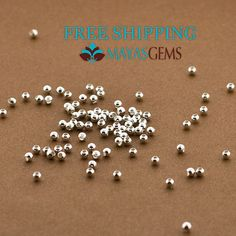 .925 Sterling Silver 2mm Beads. Pack of 100 beads.  FREE SHIPPING within the USA Beads are high polished and Made in Italy. The Beads are Seamless so durability and visual appeal are at a premium.  Quantity: 100 Pieces Size: 2mm w/.8mm hole Country of Origin: Italy  This is for 100 pcs of .925 Sterling Silver Round Seamless Beads. Made in Italy.