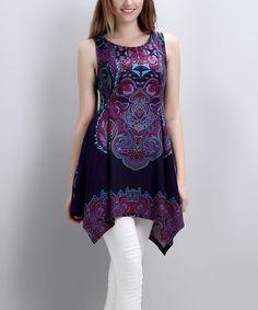 Look what I found on #zulily! Navy Damask Handkerchief Tunic by Reborn Collection #zulilyfinds
