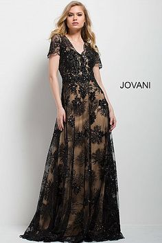 98bf0f574b7 Black and Nude Lace A-Line Short Sleeve Evening Gown 51477  LaceDress   FormalDress