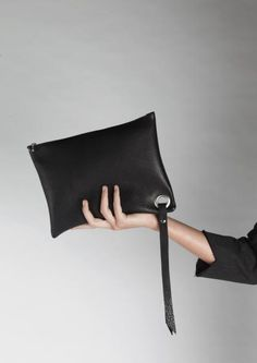 zwart leer black leather tote clutch | SPRDLX.NL leren tassen & shoppers