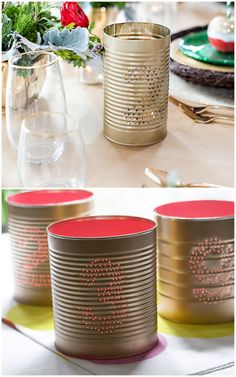 tin can wedding DIY ideas: tin can table numbers | Oh Lovely Day