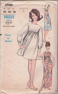 Vogue 5900 Vintage 60's Sewing Pattern ADORABLE Mod Empire Waist Babydoll Mini Dress, Day Dress, Side Slits Hostess Gown EASY #MOMSPatterns
