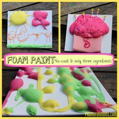 DIY Foam Paint. Whip up a batch with items you probably already have to keep busy on a cd or rainy day. #kids #crafts #paint #indooractivities