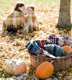 Love the basket of throws and blankets! What a great idea for autumn picnics and patio parties!