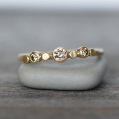 Diamond and Gold Wedding Ring - 18k Gold Pebble Engagement Ring - Eco-Friendly Recycled Gold - Choose Brown OR White Diamonds by LilianGinebra on Etsy https://www.etsy.com/listing/182224309/diamond-and-gold-wedding-ring-18k-gold