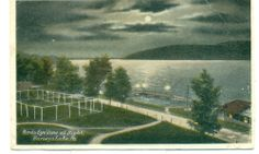 HARVEY'S LAKE, PA Birdseye Moonlight View, 1924