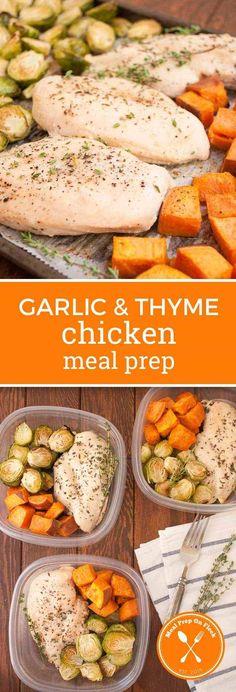 Garlic & Thyme Chicken Meal Prep Recipe #chicken #mealprep