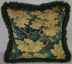 Pillow made from circa 1700 Brussels verdure tapestry