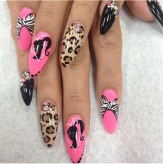 Hott Pink Barbie Nails
