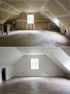 Before and After: finished studio space over the garage / jones design company - IKEA Room Above Garage, Garage Attic, Attic Loft, Loft Room, Attic Master Bedroom, Attic Bedroom Designs, Attic Design, Attic Spaces, Attic Rooms