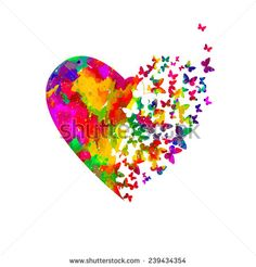 Find Watercolor Heart Butterflies Vector stock images in HD and millions of other royalty-free stock photos, illustrations and vectors in the Shutterstock collection. Thousands of new, high-quality pictures added every day. Watercolor Heart Tattoos, Butterfly Watercolor, Butterfly Art, Watercolor Art, Inspiration Artistique, Herz Tattoo, Heart Painting, Photo Composition, Trendy Tattoos