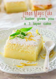 Lemon Magic Cake Recipe, Magic Cake Recipes, Magic Custard Cake, Lemon Recipes, Easy Cake Recipes, Dessert Recipes, Cupcake Recipes, Easy Desserts, Baking Recipes