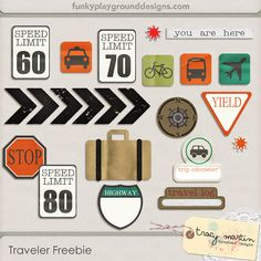 Traveler element pack freebie from Tracy Martin Scrapbook Designs. Street signs, speed limit signs, suitcase*