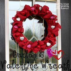 burlap heart valentine wreath - maybe with plain burlap and fabric flowers instead of the hearts?