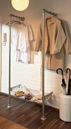 DIY pipe clothing rack- shoe shelves instead of basket Home Organization Hacks, Closet Organization, Storage Hacks, Diy Storage, Coat Storage, Fabric Storage, Storage Shelves, Closet Shelving, Clothing Organization