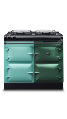 Two very different shades of green - the popular Pistachio and the iconic British Racing Green.  Which colour AGA cooker would you choose?