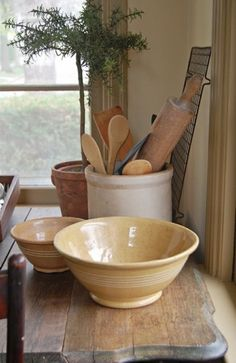 crock with rolling pin and spoons, yellow bowl | http://froggoestomarket.blogspot.com