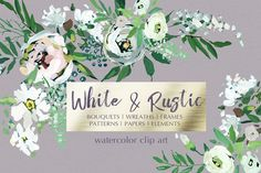 White Hand Painted Floral Clip Art - Illustrations
