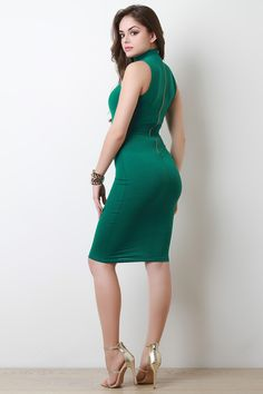 Shop Sleeveless Mock Neck Bodycon Dress featuring smooth knit fabrication, sleeveless, mock neckline, a sculpture fit, zipper fastener at back and a midi hemline. Beautiful Girl Image, Beautiful Asian Girls, Beautiful Models, Sexy Outfits, Dress Outfits, Cute Brunette, Beauty Full Girl, Tight Dresses, Feminine Style