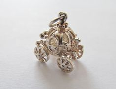 Opening Cinderalla Carriage Charm Vintage Sterling Silver